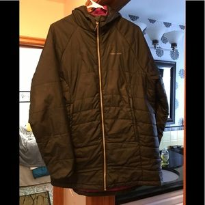 Craghoppers black insulated hooded long coat. 14